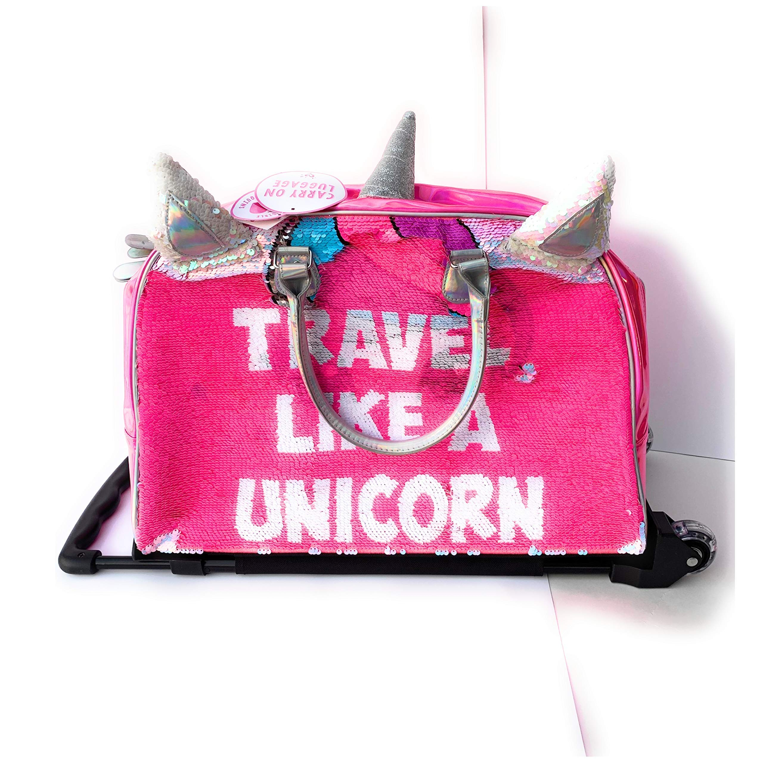 Justice Girls Exclusive Pink Reversible Seqiun Unicorn Carry On Luggage Suitcase Travel Bag by Justice (Image #3)