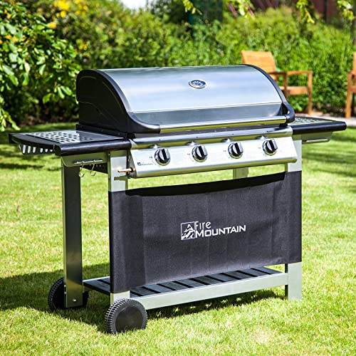 Everest 4 Burner Gas Barbecue - with Free Propane Regulator & Hose - Stainless Steel, Cast Iron Burners, Grill & Griddle