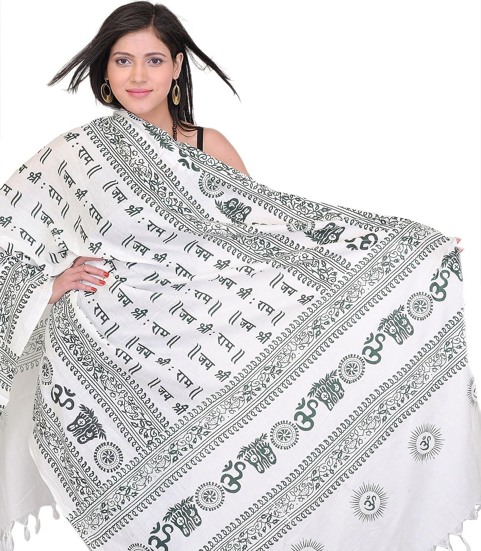 Exotic India Jai Sri Rama Mantra Prayer Shawl - Green SRB85
