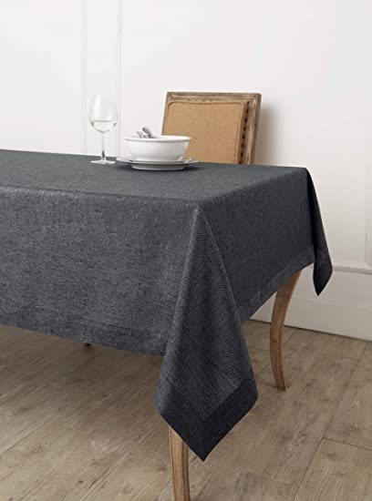 Bon Solino Home 100% Linen Tablecloth   60 X 90 Inch Charcoal Grey, Natural  Fabric