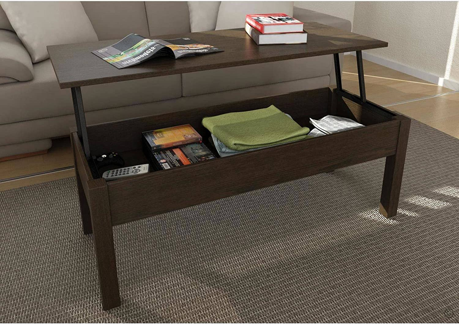 Amazon Com Mainstay Lift Top Coffee Table Brown Furniture Decor
