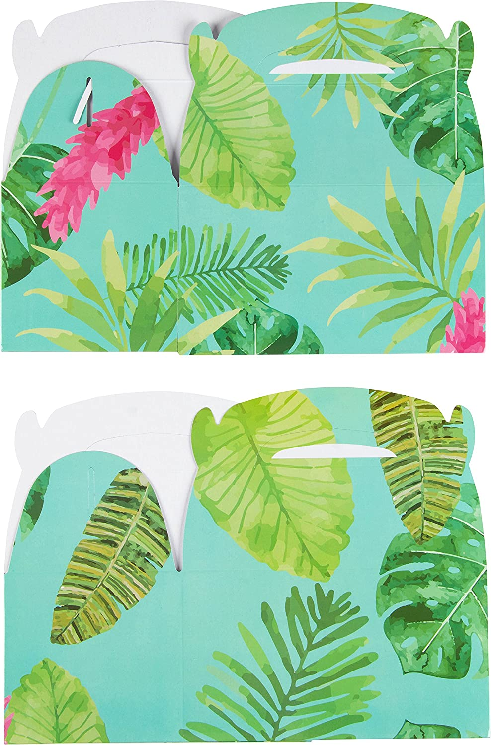 24-Pack Paper Party Favor Boxes 6 x 3.3 x 3.6 inches Tropical Floral Design Goodie Boxes for Birthdays and Events 2 Dozen Party Gable Boxes Treat Boxes