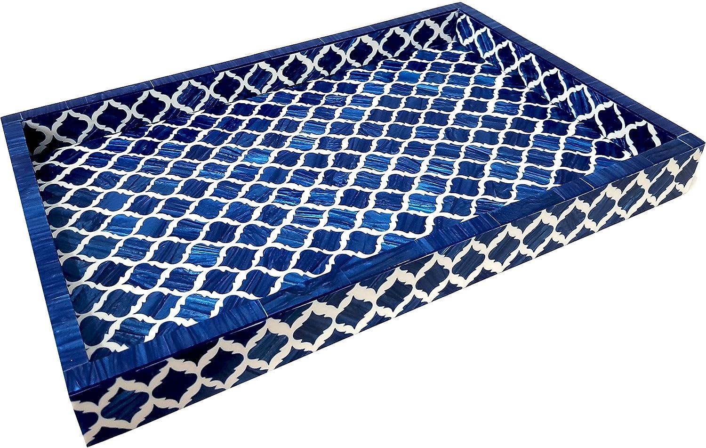 Collectibles Buy Bone Moorish Moroccan Inlay Tray Handmade Damask Blue & White All Purpose Serving Tray Designer Royal Trays Home Decorative … (Blue)