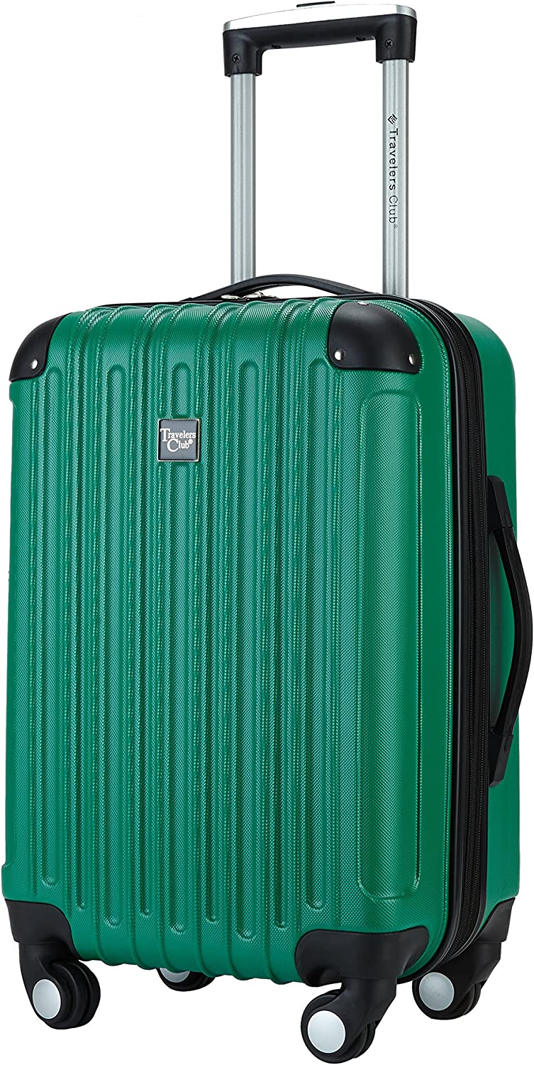Travelers Club 20 Carry-On with Cup and Phone Convenience Pocket Expandable Spinner Luggage Green Color Option