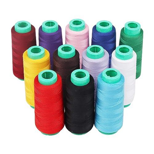 Curtzy 12 Bobines de Fils à Coudre en Polyester pour Machine à Coudre - 16.459 mètres Fil de machine à coudre dans des couleurs assorties pour le tricotage, le point de croix