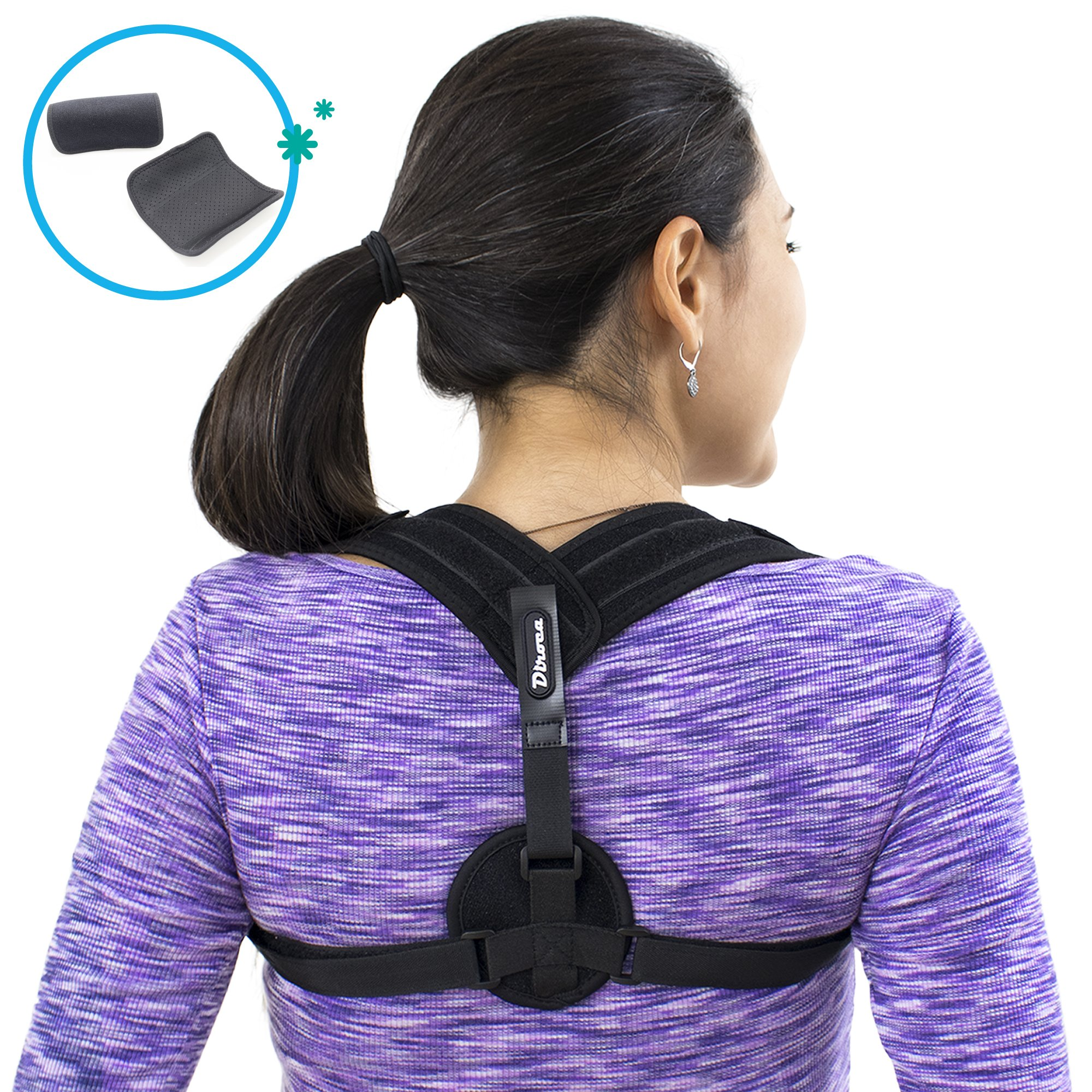 Posture Corrector   Upper Back Support & Pain Relief   Comfortable & Adjustable w/Detachable Pads   Medical Brace to Improve Bad Posture, Shoulder Alignment & Thoracic Kyphosis   Prevents Hump   for