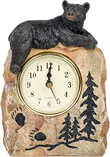 Slifka Sales Co. Bear Lying on a Rock Resin Decorative Tabletop Clock