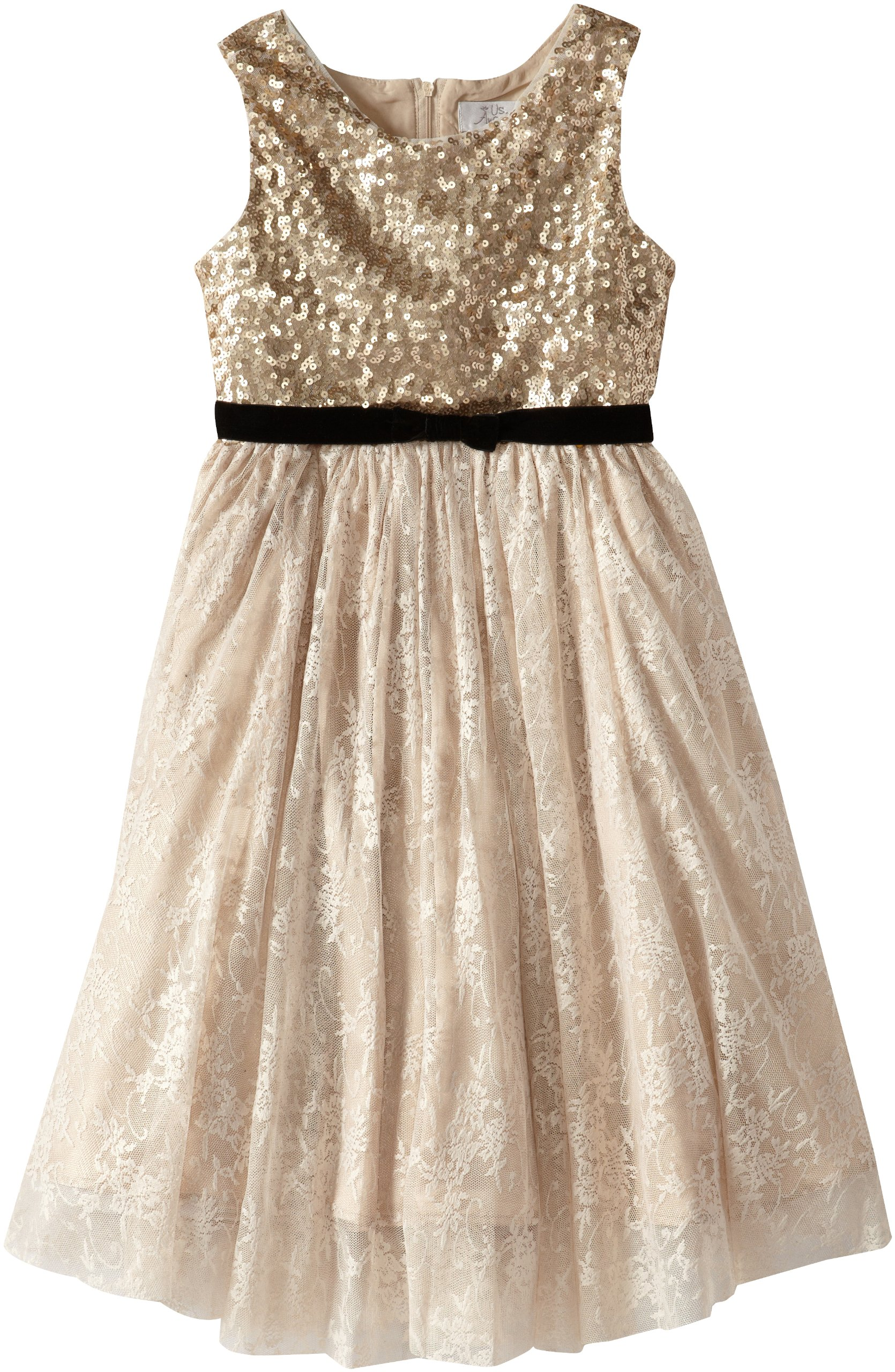 Us Angels Big Girls' Sequin Tank with Lace Skirt and Velvet Bow, Gold, 8