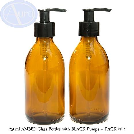 Botellas de cristal ámbar de 250 ml con dosificador negro, paquete de 2 unidades