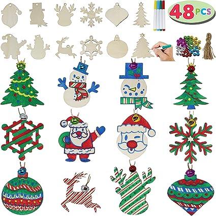 48 Piezas Adornos para /Árboles de Navidad Colgantes de Madera de Navidad con Cuerdas y Cuentas para Navidad