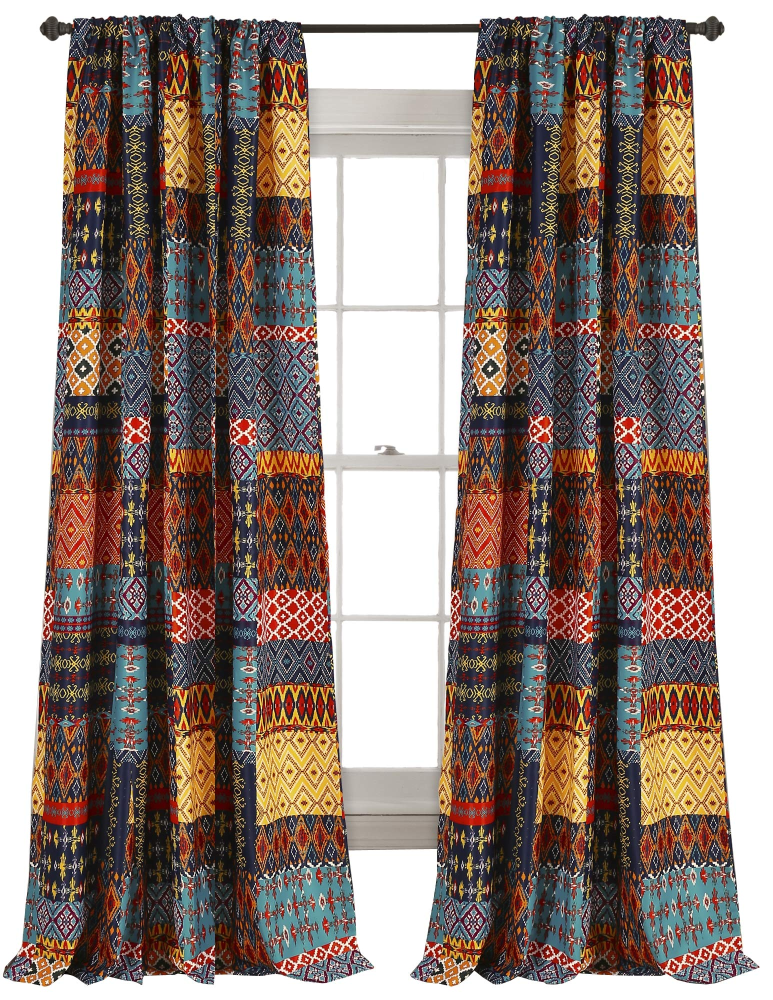 "Lush Decor Misha Room Darkening Window Curtain Panel Set, 84"" x 52"", Multicolor - Stylish and bold set of curtain panels with a colorful, geometric, patchwork design throughout. Room darkening window curtains filter a portion of light and heat, but allow for some natural light to come through. Curtains measure 84""H x 52""W and an eye-catching piece to your bedroom, living room or dining room. - living-room-soft-furnishings, living-room, draperies-curtains-shades - 91TPxOhyldL -"