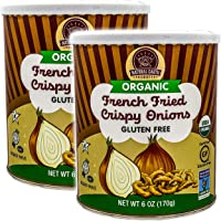 Natural Earth Products - Organic French Fried Crispy Onions - Vegan, Gluten-Free, NON-GMO, USDA Organic - Kosher Parve - 6 Oz (170 g) (2-Pack)