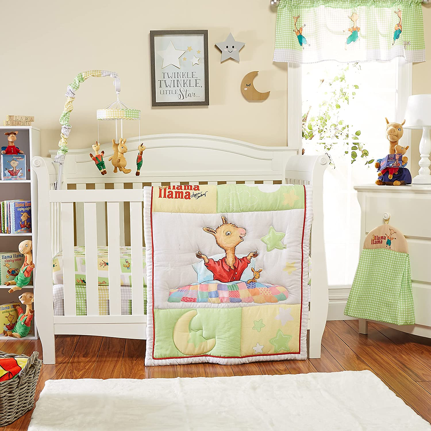 EVERYDAY KIDS Llama Llama 4 Pc Crib Bedding and Nursery Set Includes Baby Bed Quilt, Fitted Sheet, Dust Ruffle and Diaper Stacker; Sweet Images of Llama Llama, Moon and Stars for Boys and Girls
