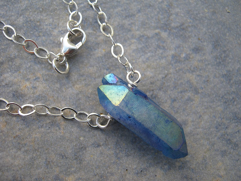 Titanium quartz  Point necklace pendant crystal healing spiritual
