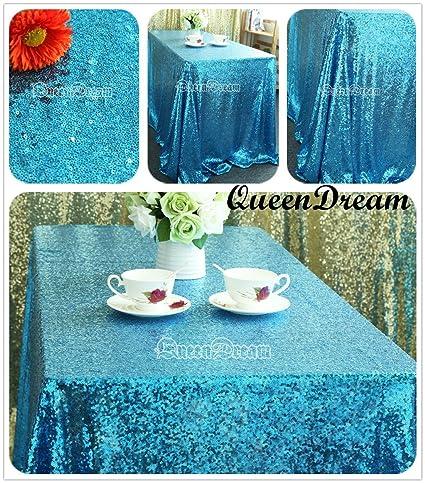 Bon QueenDream Aqua Sequin Tablecloth 50u0026quot;x80u0026quot; Aqua Blue Sequined  Tablecloth Sequin Fabric Wedding Tablecloth