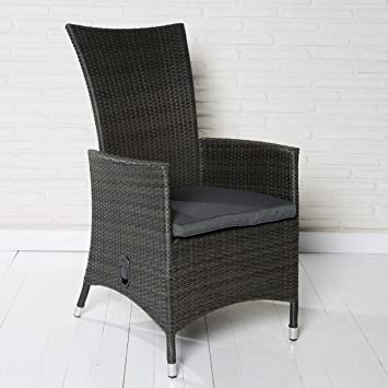 4 Bequeme Polyrattan Hochlehner Gartensessel Gartenstühle Grau Meliert Mit  Verstellbarer Rückenlehne Und Sitzkissen