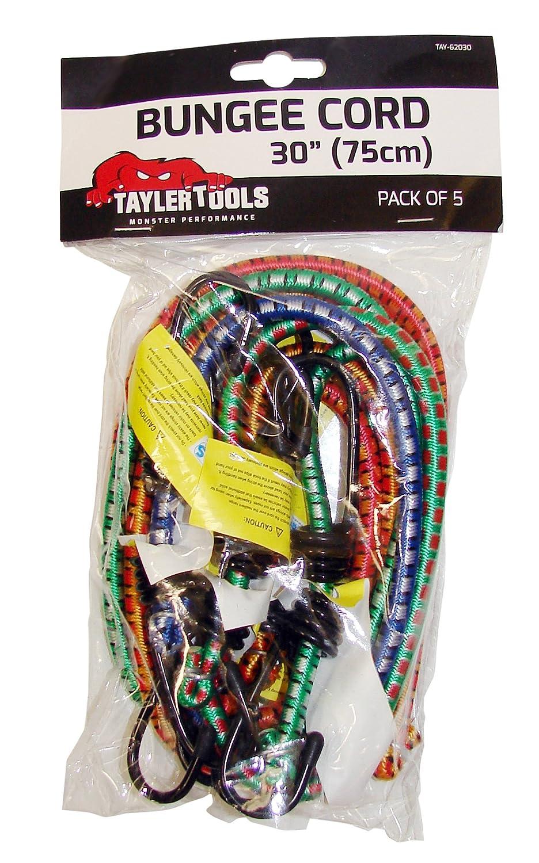 Taylor Tools TAY-62030-75Cm Paquete De 5 30 Pulgadas Para Trabajo Pesado Bungee Cord
