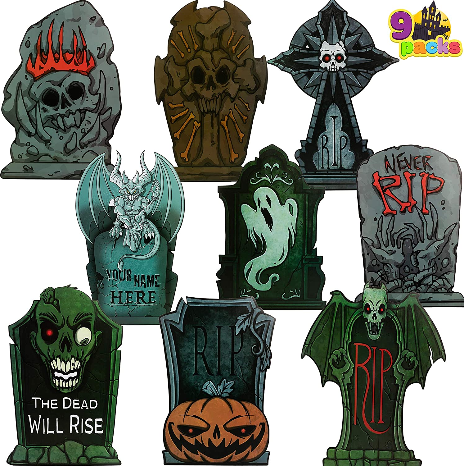 """JOYIN Halloween Tombstone Yard Decorations(Pack of 9), 17"""" Tall Lightweight PVC Yard Signs for Halloween Party, Haunted House, Graveyard and Outdoor Lawn"""