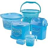 Nayasa Funk Bathroom Set Deluxe, 6 pieces,Blue