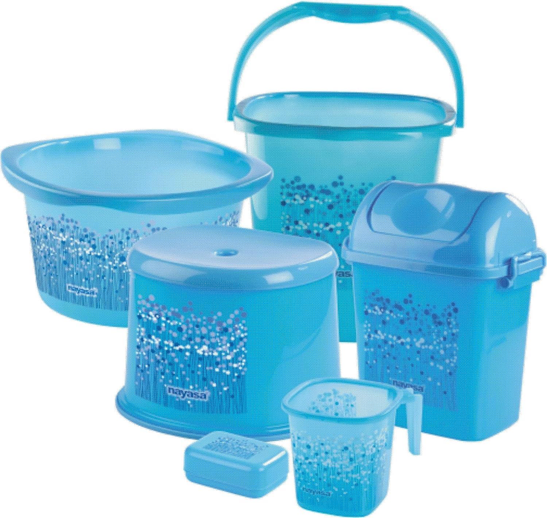 Nayasa funk bathroom set deluxe 6 pieces blue