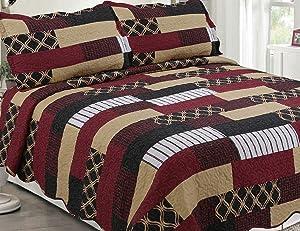 Sapphire Home 3 Piece King Size Bedspread Coverlet Quilt Bedding Set w/2 Pillow Shams, South Western Design Black Brown Burgundy, King XJ1100