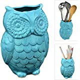 Owl Design Aqua Blue Ceramic Kitchen Cooking Utensil Crock / Office Pencil Holder Pen Container - MyGift