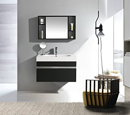 Mobile Arredo Bagno Idea 90 cm Sospeso Moderno Nero: Amazon.it ...