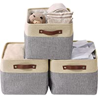 Foldable Storage Bin, Collapsible Sturdy Cationic Fabric Storage Basket for Toy, Empty Gift Baskets with Handles…