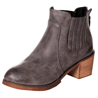 UJoowalk Womens Faux Lining Chunky Heeled Ankle Bootie