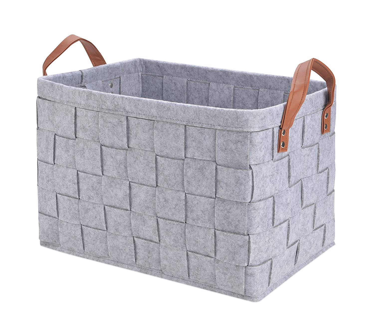 Perber Storage Baskets,Handmade Decorative Collapsible Rectangular Felt  Fabric Storage Bin,Large Enough For