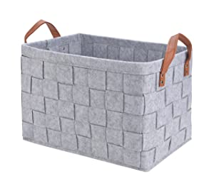 """Collapsible Storage Basket Bins, Foldable Handmade Rectangular Felt Fabric Storage Box Cubes Containers with Handles- Large Organizer For Nursery Toys,Kids Room,Towels,Clothes, Grey (16""""x11.8""""x11.5"""")"""