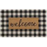 """DII Natural Coir Doormat, Checkers Mat, Checkers Welcome, 18X30"""""""