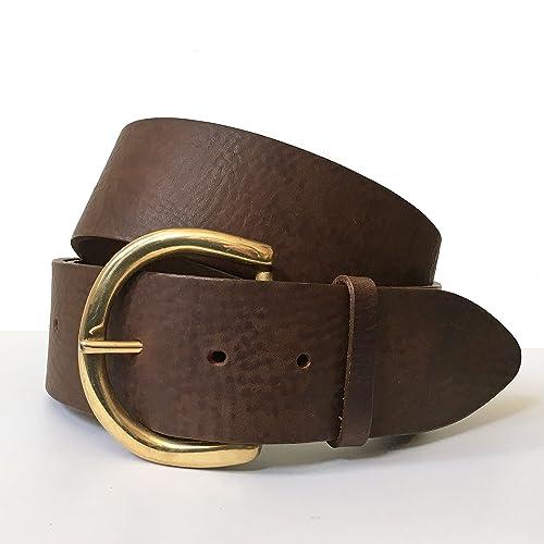 Breiter Brauner Ledergürtel, 5 cm Italienischer Gürtel für