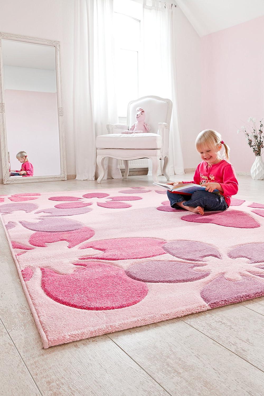 Kinderteppich Mädchen Kinderzimmer Blaumen Design komplett umkettelt strapazierfähig strapazierfähig strapazierfähig pflegeleicht – hellRosa 120 x 170 cm B0066IXUA2 Lufer 172cb9
