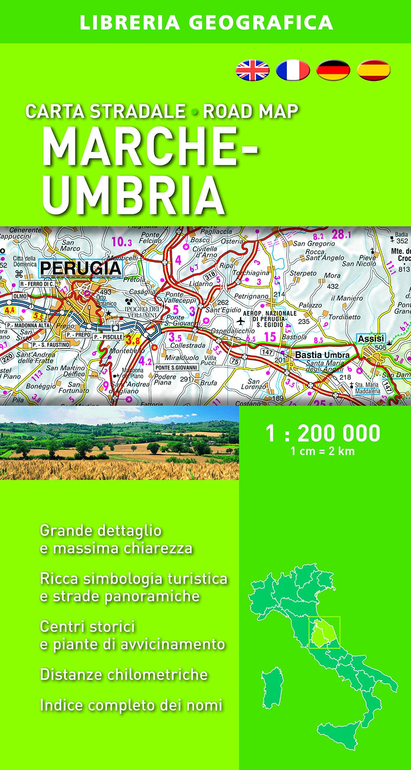 Cartina Stradale Umbria Marche.Carta Stradale Marche E Umbria 1 200 000 Ion 1 0 Libri Amazon It