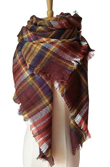 MOTINE Tartan Blanket Scarf Stylish Winter Warm Pashmina Wrap Shawl for  Women (Brown) eb03c8f15