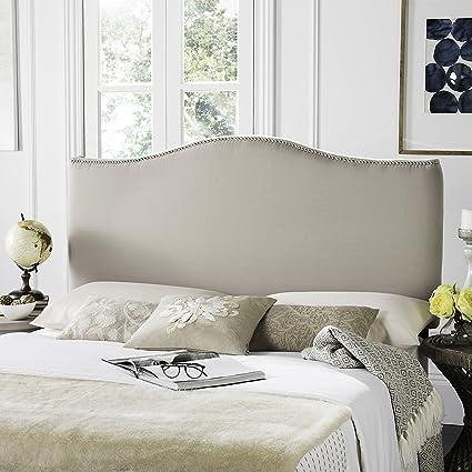 Safavieh Jeneve Taupe Linen Upholstered Camelback Headboard   Silver  Nailhead (Queen)
