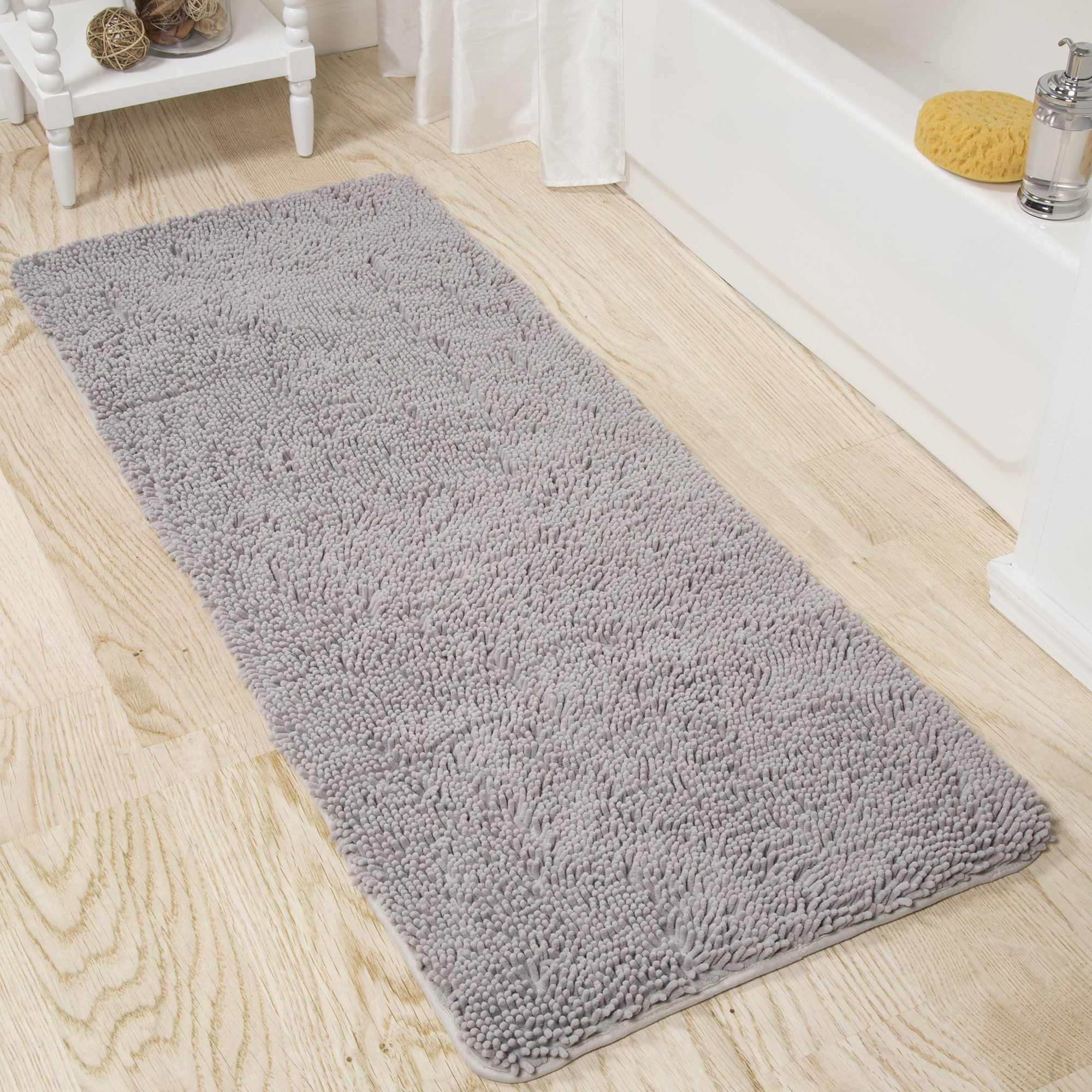 Lavish Home Memory Foam Shag Bath Mat 2-Feet by 5-Feet- Grey