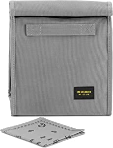 Reusable Lunch Sack Bag with Extra Storage Pockets and Washable Napkin for School and Work - Large Capacity Foldable Insulated Lunch Bag Tote for Men and Women (Grey)
