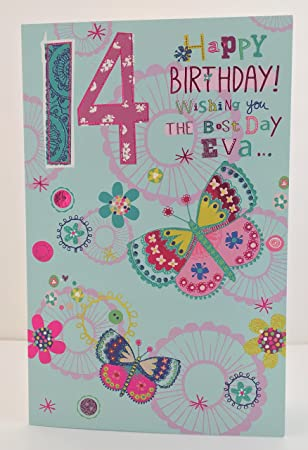 Girl Age 14 Happy Birthday Best Day Eva Card Butterflies Amazon
