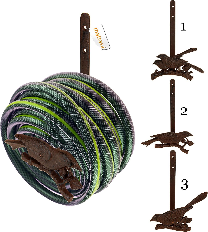matrasa Gartenschlauch-Halter Rusty Birdy Variante 2 Halterung f/ür Gartenschlauch aus Gusseisen