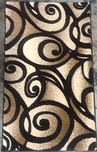 Contempo Modern Door Mat Area Rug Swirl Design Chocolate Brown 341 2 Feet X 3 Feet 4 Inch