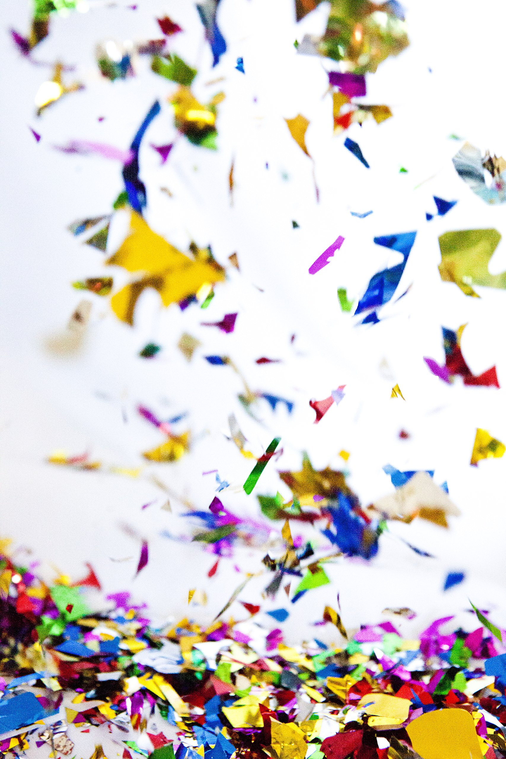 Metallic Shiny ConfettiSparkly Rainbow Confetti, Bulk Jumbo Bag. Made from shiny, smooth, lightweight shredded foil. For birthdays, engagements, and surprise parties.