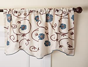 "Lush Decor Royal Garden Floral Window Kitchen Curtain Valance, 18"" x 42"", Blue"