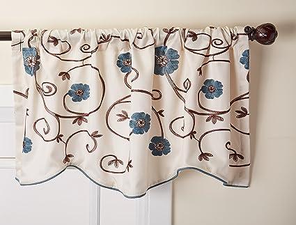 Lush Decor Royal Garden Floral Window Kitchen Curtain Valance, 18u0026quot; ...