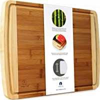 """EXTRA LARGE Bamboo Cutting Board with Deep Juice Groove for Thanksgiving Turkey Carving Board 17.5"""" x 13.5"""" x 0.75"""""""