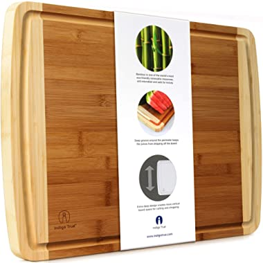 """EXTRA LARGE Bamboo Cutting Board with Deep Juice Groove for Thanksgiving Turkey 17.5"""" x 13.5"""" x 0.75"""