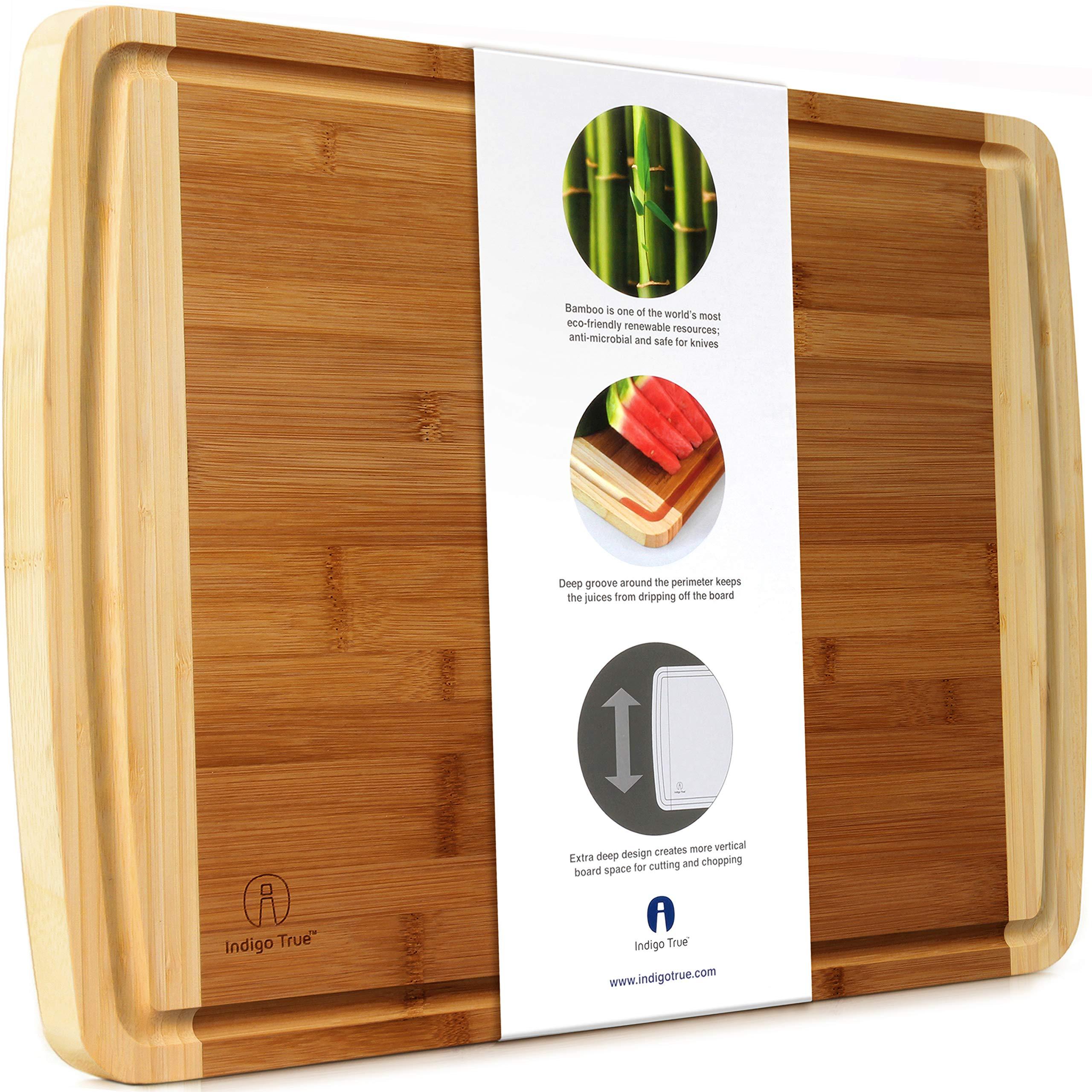 "Indigo True Extra Large Bamboo Cutting Board with Deep Juice Groove 17.5"" x 13.5"" x 0.75''"