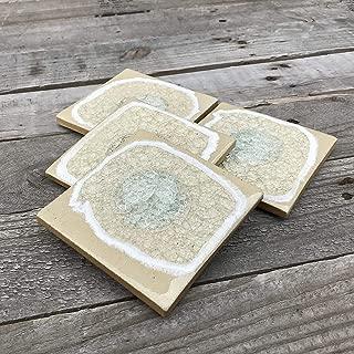 product image for Geode Crackle Coaster Set of 4 in Sand, Geode Coaster, Crackle Coaster, Fused Glass Coaster, Crackle Glass Coaster, Agate Coaster, Ceramic Coaster, Dock 6 Pottery Coaster