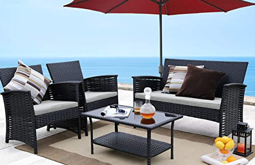 Baner Garden 4 Piece Outdoor Furniture Complete Patio Cushion Wicker Rattan Garden Set